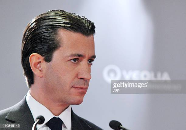 Executive Vice President in charge of finance of French international utility group Veolia Environnement, Thomas Piquemal, gives a press conference,...