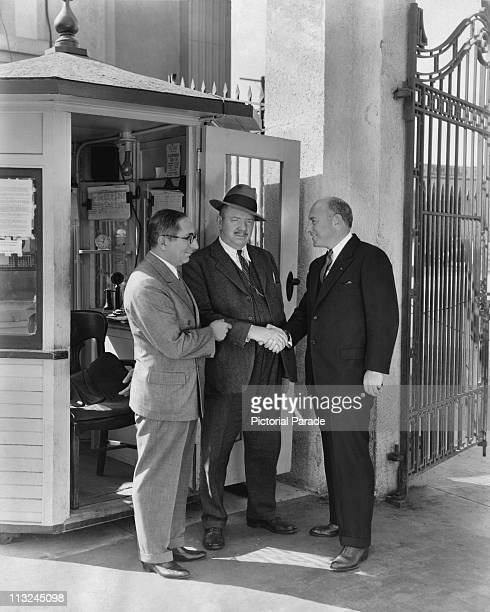 MGM executive vice president Louis B Mayer introduces film director Cecil b DeMille to gateman James 'Red' Owens at MetroGoldwynMayer's Culver City...