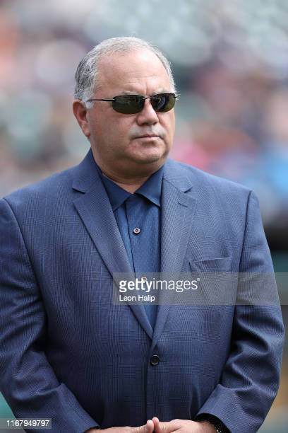 Executive Vice President of Baseball Operations and General Manager Al Avila on the field prior to the start of the game against the Kansas City...