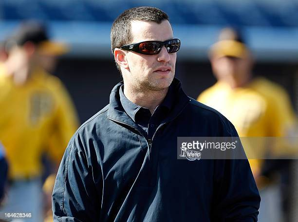 Executive Vice President of Baseball Operations Andrew Friedman of the Tampa Bay Rays watches batting practice just before the start of the...