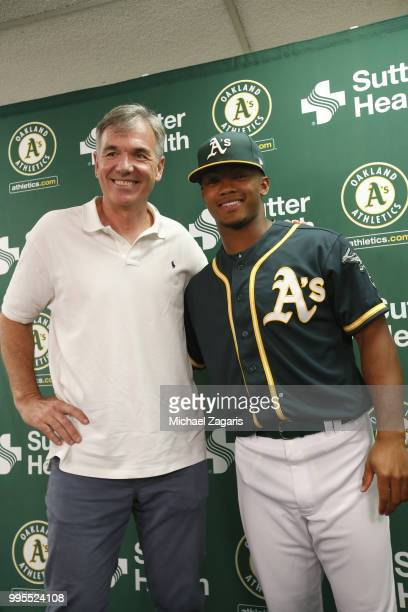 Executive Vice President of Baseball Operations Billy Beane and First round draft pick Kyler Murray of the Oakland Athletics stand together after a...