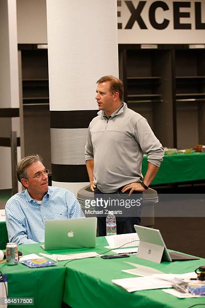 Executive Vice President of Baseball Operations Billy Beane and General Manager David Forst of the Oakland Athletics wait to make their first pick in...