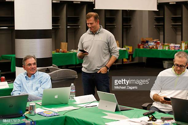 Executive Vice President of Baseball Operations Billy Beane General Manager David Forst and Special Assistant to General Manager Chris Pittaro of the...