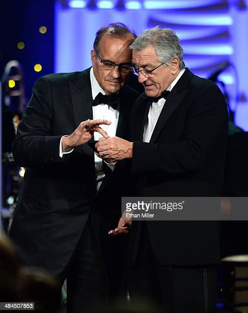 Executive Vice President of Baseball Operations for Major League Baseball Joe Torre and honoree Robert De Niro speak onstage during Muhammad Ali's...