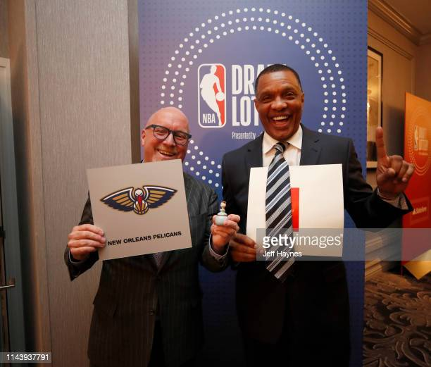 Executive vice president of basketball operations David Griffin and head coach Alvin Gentry pose for a photo after the team was awarded the number...