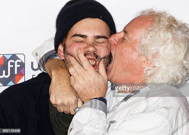 Executive Vice President of Cineplex Filmed Entertainment Michael Kennedy embraces Actor Rossif Sutherland on the red carpet before the Borsos...