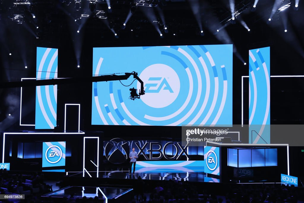 Executive Vice President of Electronic Arts (EA) Patrick Soderlund speaks during the Microsoft xBox E3 briefing at the Galen Center on June 11, 2017 in Los Angeles, California. The E3 Game Conference begins on Tuesday June 13.