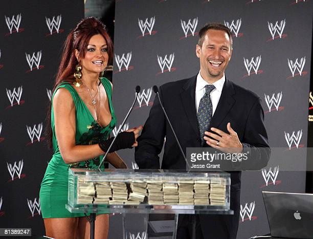 Executive vice president of E-Prize Gabe Karp and WWE diva Maria Kanellis attend a press conference announcing that WWE Chairman Vince McMahon will...
