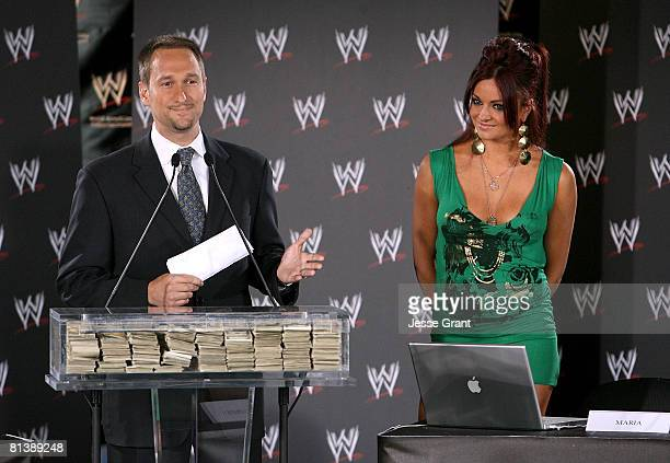 Executive vice president of EPrize Gabe Karp and WWE diva Maria Kanellis attend a press conference announcing that WWE Chairman Vince McMahon will be...