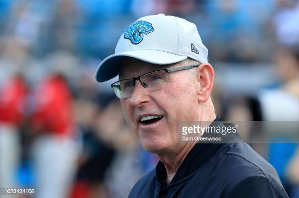 Executive Vice President of Football Operations for the Jacksonville Jaguars Tom Coughlin watches the action prior to a preseason game against the...