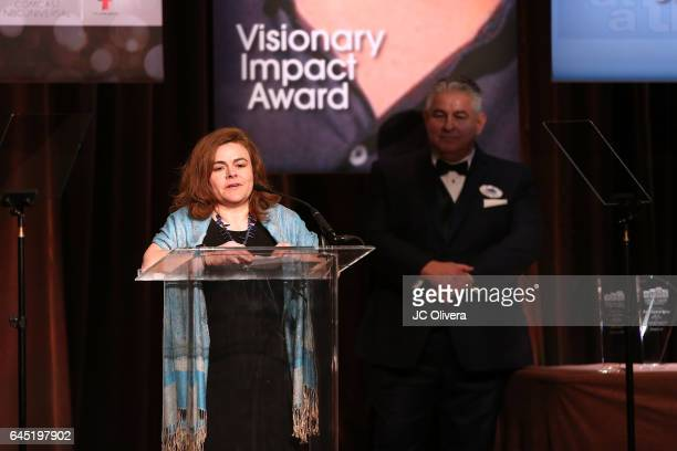 Executive Vice President of Government and Corporate Affairs for Univision Communications Inc Jessica HerreraFlanigan speaks onstage during the 20th...