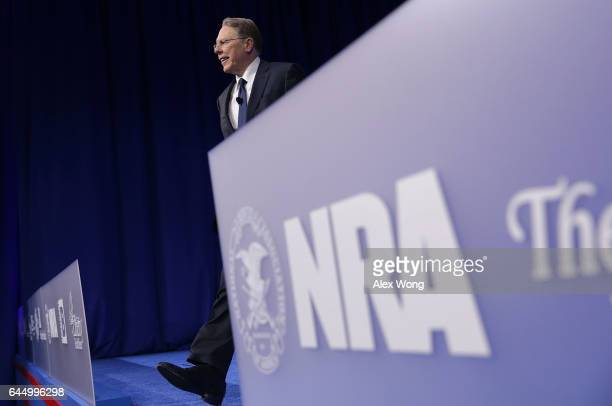 Executive Vice President of the National Rifle Association Wayne LaPierre walks on stage prior to his remarks during the Conservative Political...