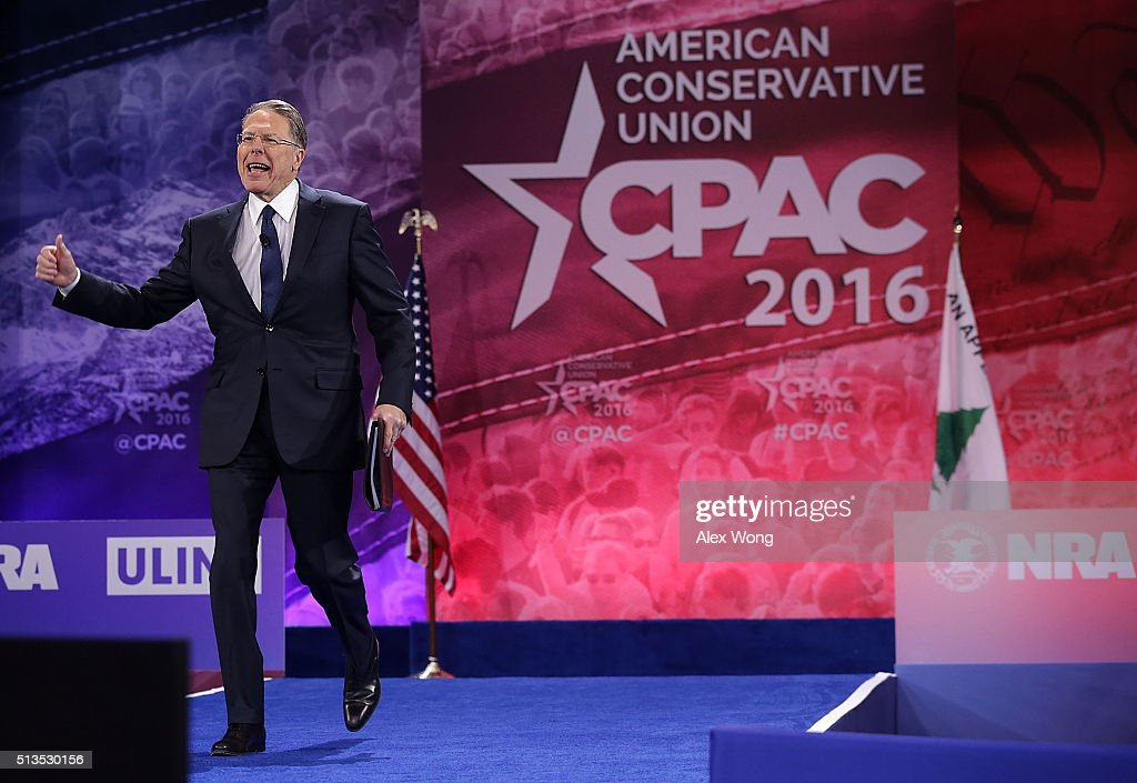 Executive Vice President of the National Rifle Association Wayne LaPierre approaches the podium during the Conservative Political Action Conference (CPAC) March 3, 2016 in National Harbor, Maryland. The American Conservative Union hosted its annual Conservative Political Action Conference to discuss conservative issues.
