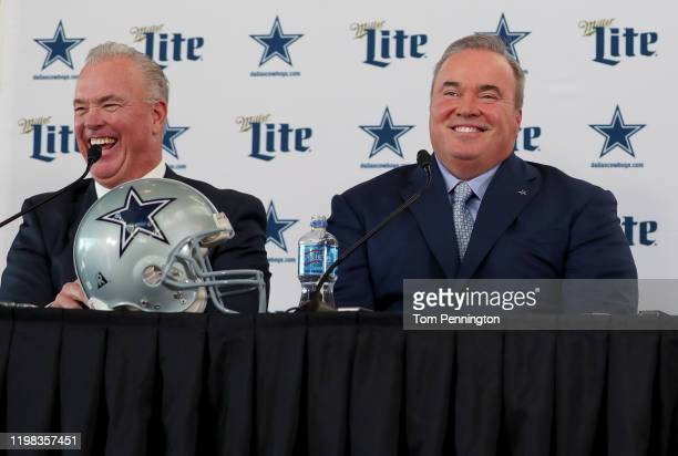 Executive Vice President Stephen Jones of the Dallas Cowboys and head coach Mike McCarthy of the Dallas Cowboys talk with the media during a press...