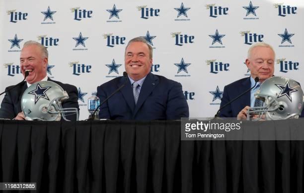 Executive Vice President Stephen Jones of the Dallas Cowboys Head coach Mike McCarthy of the Dallas Cowboys and Dallas Cowboys owner Jerry Jones talk...