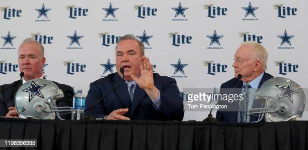 Executive Vice President Stephen Jones of the Dallas Cowboys, Head coach Mike McCarthy of the Dallas Cowboys and Dallas Cowboys owner Jerry Jones...