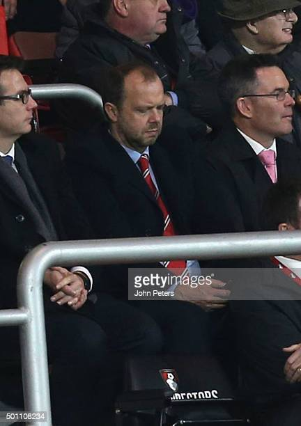 Executive vicechairman Ed Woodward of Manchester United watches from the directors' box during the Barclays Premier League match between AFC...