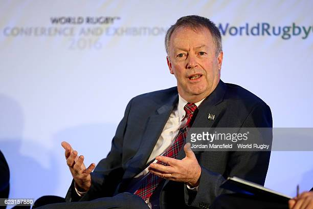 Executive VicePresident of International NFL Mark Waller talks during Day 1 of the World Rugby Conference and Exhibition 2016 at the Hilton London...