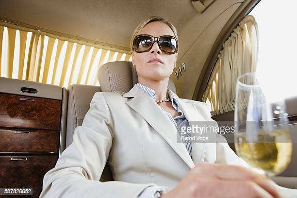 Executive with champagne limousine