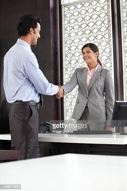 Executives shaking hands