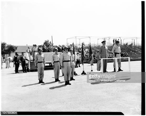 Executives visit Camp Roberts 24 July 1958 Lieutenant Colonel James MooreJames S CantlenDon BeldingHenry A BrownBrigadier General FC MencaccyWilliam...