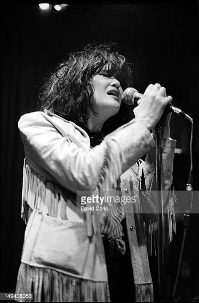 Exene Cervenka of LA punk band X performing at the Nashville Rooms London 1979
