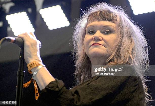Exene Cervenka of X performs during the KAABOO Festival 2015 at Del Mar Fairgrounds on September 19 2015 in Del Mar California