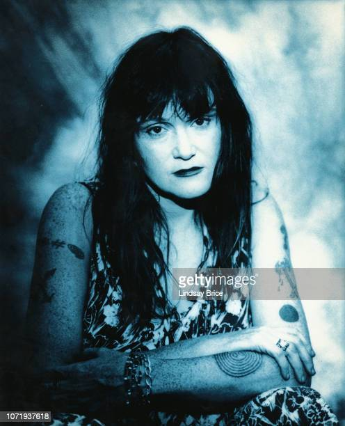 Exene Cervenka poses for a portrait printed in blue on July 11 1994 in Los Angeles California