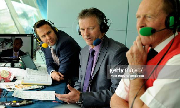 ExEngland cricket captain Michael Vaughan and exAustralian cricket captain Steve Waugh with Geoffrey Boycott during an interview on the BBC Test...