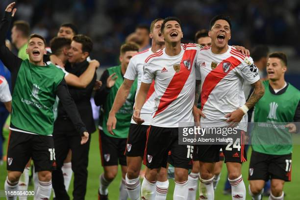 Exequiel Palacios and Enzo Pérez of River Plate celebrate after a round of sixteen second leg match between Cruzeiro and River Plate as part of Copa...