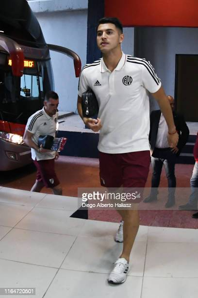 Exequiel Palacios of River Plate arrives to the stadium before a match between Cerro Porteño and River Plate as part of Quarter Finals of Copa...