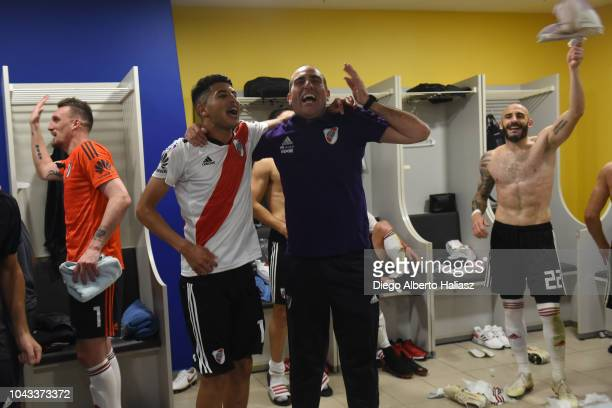 Exequiel Palacios of River Plate celebrates in the dressing room after a match between Boca Juniors and River Plate as part of Superliga 2018/19 at...