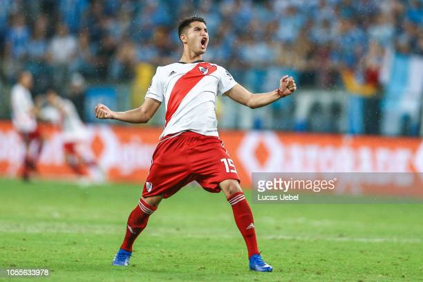 Exequiel Palacios of River Plate celebrates the first goal of his team scored by Rafael Santos Borre during the match against Gremio as part of Copa...