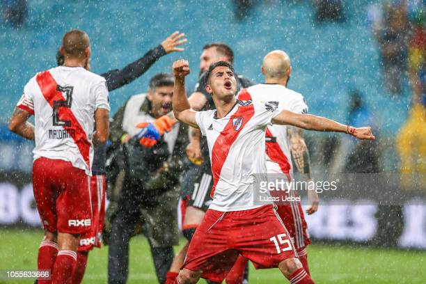 Exequiel Palacios of River Plate celebrates with teammates after winning the match against Gremio as part of Copa Conmebol Libertadores 2018 at Arena...