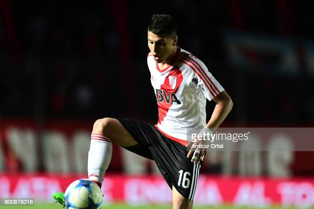 Exequiel Palacios of River Plate controls the ball during a match between Colon and River Plate as part of Torneo Primera Division 2016/17 at...