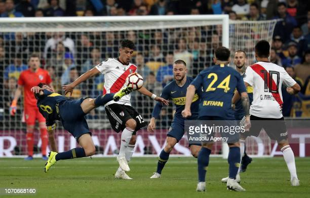 Exequiel Palacios of River Plate in action during the second leg of the final match of Copa Libertadores soccer match between River Plate vs Boca...