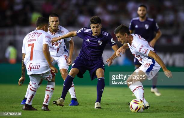 Exequiel Palacios of River Plate kicks the ball during a match between River Plate and Union as part of Round 12 of Superliga 2018/19 at Estadio...