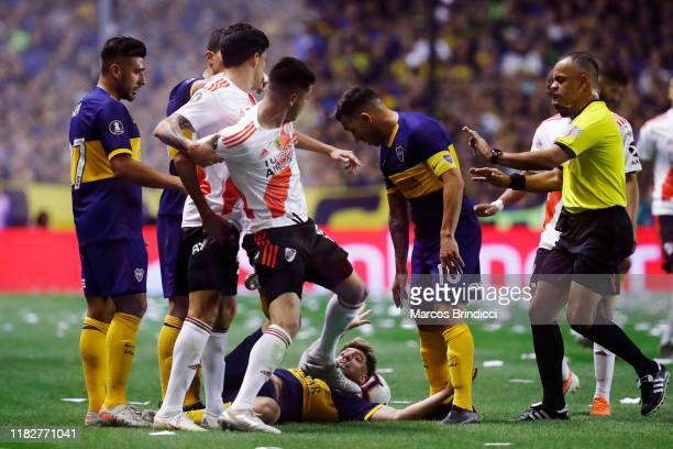 Exequiel Palacios of River Plate reacts during the Semifinal second leg match between Boca Juniors and River Plate as part of Copa CONMEBOL...