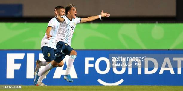 Exequiel Zeballos of Argentina and Juan Pablo Krilanovich celebrate after Krilanovich scored a goal during the FIFA U17 World Cup Brazil 2019 group E...