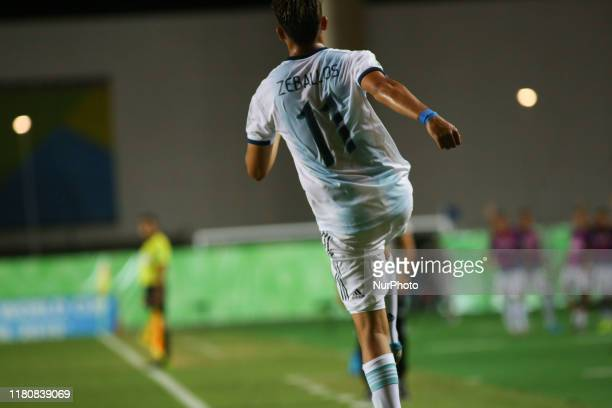 Exequiel Zeballos of Argentina celebrates the first goal for his team during the FIFA U17 World Cup Brazil 2019 round of 16 match between Paraguay...