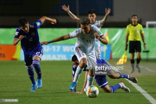 Exequiel Zeballos of Argentina controls the ball during the FIFA U17 World Cup Brazil 2019 round of 16 match between Paraguay and Argentina at...