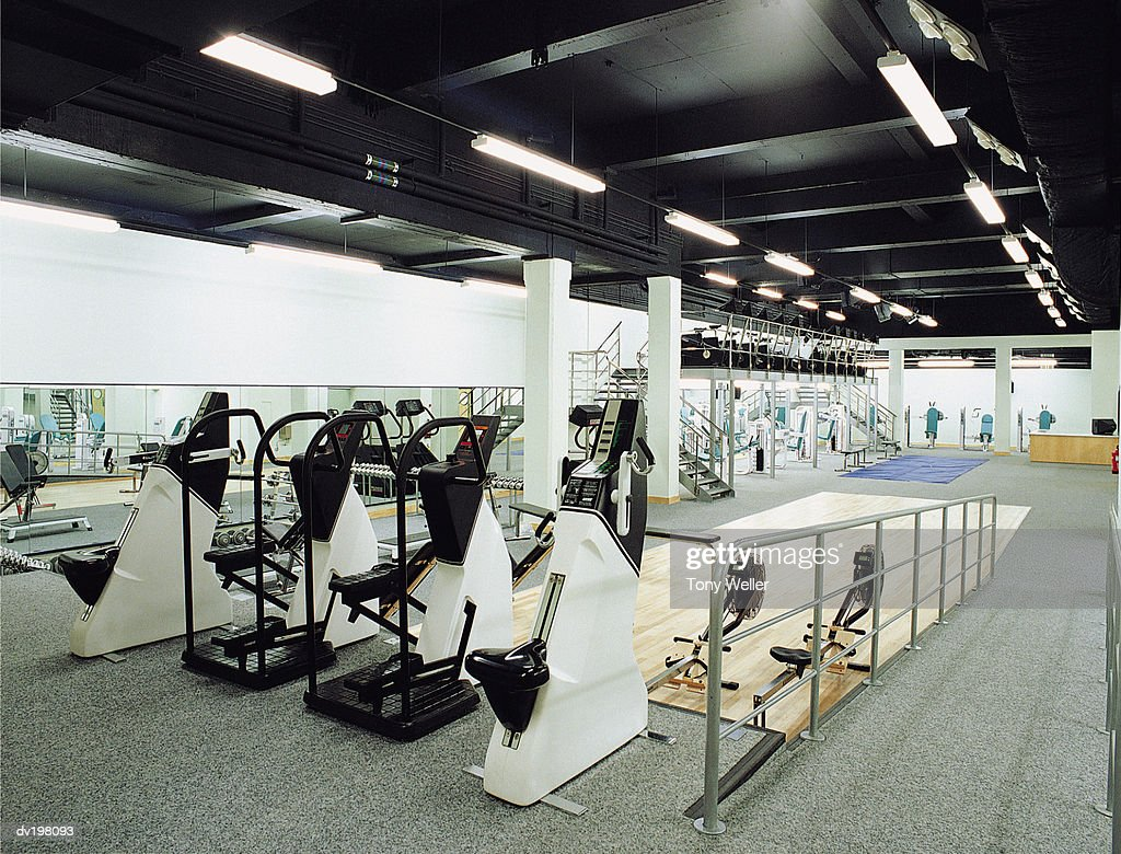 Exercise equipment in gym : Stock Photo