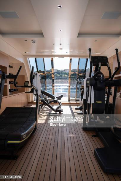 Exercise equipment manufactured by WellneS Holding Srl sit in the gym on board luxury superyacht Metis manufactured by Azimut Bentti SpA during the...