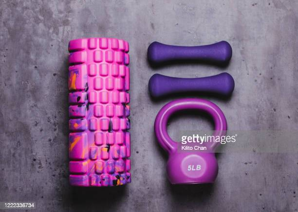 exercise equipment-kettlebell, dumbbell and foam roller - エクササイズ用具 ストックフォトと画像