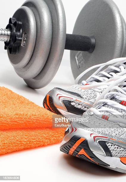 exercise - orange shoe stock photos and pictures