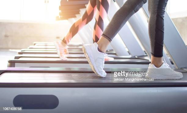 exercise treadmill cardio running workout at fitness gym of woman taking weight loss with machine aerobic for slim and firm healthy in the morning.show of running shoes, rubber floor, softness, - ginásio imagens e fotografias de stock