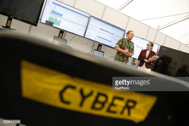 Exercises on cyberwarfare and security are seen taking place during the NATO CWIX interoperability exercise n 22 June 2017 in Bydgoszcz Poland