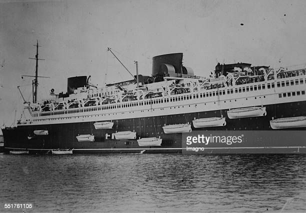 Exercises with the lifeboats on the fast steamer 'Bremen' With the lifeboats for 100 persons About 1930 Photograph