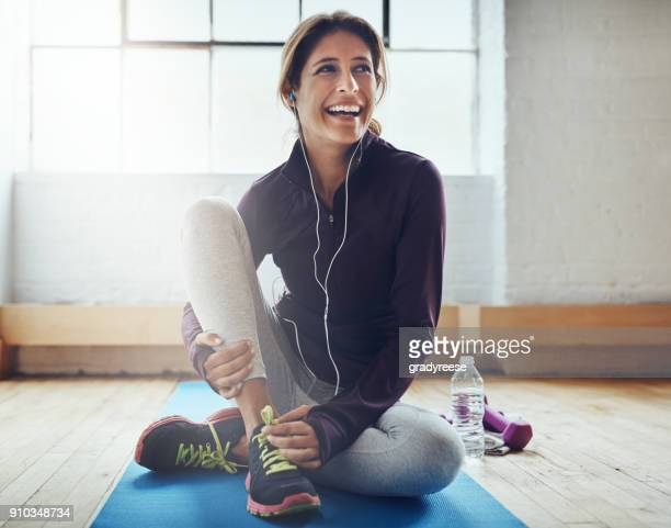 exercising can leaving you feeling oh so great - exercising stock pictures, royalty-free photos & images