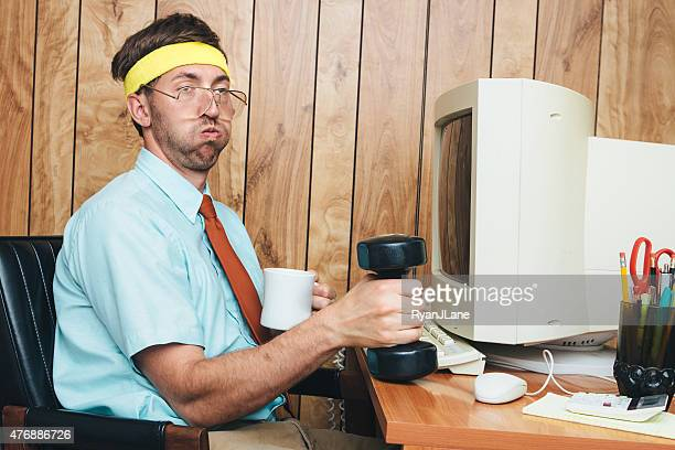 exercising office worker - nerd stock pictures, royalty-free photos & images